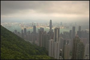 View of Hong Kong from cable car