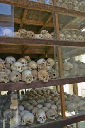 Inside the memorial  stupa full of human skulls
