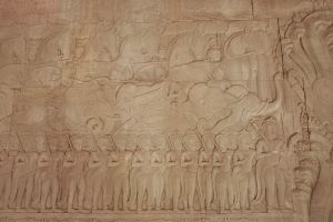 Intricately carved bas reliefs throughout Angkor Wat