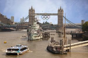 Tower bridge with HMS Belfast